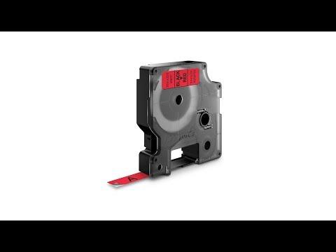 Etichete autocolante, DYMO LabelManager D1, 9mm x 7m, negru/rosu, 40917, S0720720