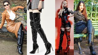 Fantastic Collection Of Leather High Heel Thigh High Boots Designs/leather Long Boots Designs #2020