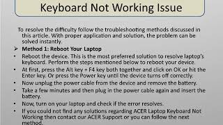 Steps to  Fix  Acer laptop keyboard not working