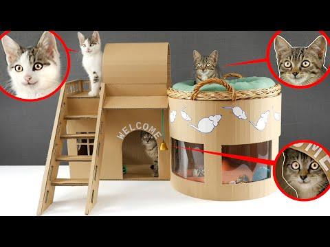 🐈How to make Amazing Kitten Cat Pet House from Cardboard