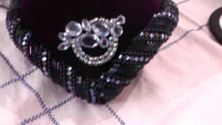 7 Старинные дамские шляпки 50е годы, лиловый бархат, стеклярус, бисер, горный хрусталь.