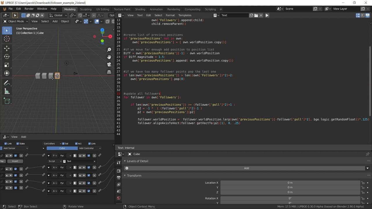 Blender UpBGE python - Follower object