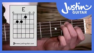 E Chord - Easy Third Guitar Chord - Beginner Guitar Lessons Stage 1 - JustinGuitar [BC-113]