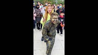 Sculpture Performer ,  Sculpture Asia Play with Cute Girl Funny Part39