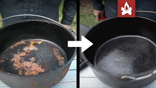 Restoring and Re-seasoning rusty Cast Iron dutch ovens and skillets