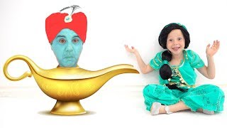 Nastya as Jasmine and dad as Gin in Aladdin's lamp