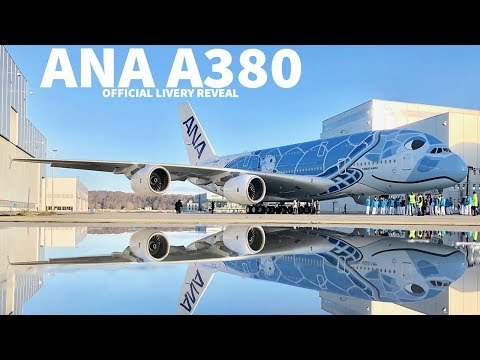 First ANA A380 Revealed with Special Livery (видео)