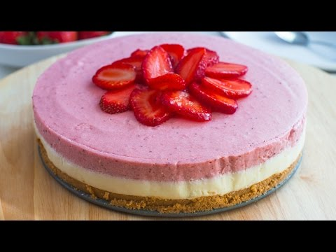Video No-Bake White Chocolate Strawberry Mousse Cake Recipe