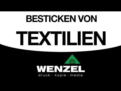 Besticken von Textilien/T-Shirts. Hier: Tigermotiv + Schriftzug