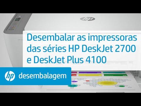 Desembalar as impressoras das séries HP DeskJet 2700 e DeskJet Plus 4100