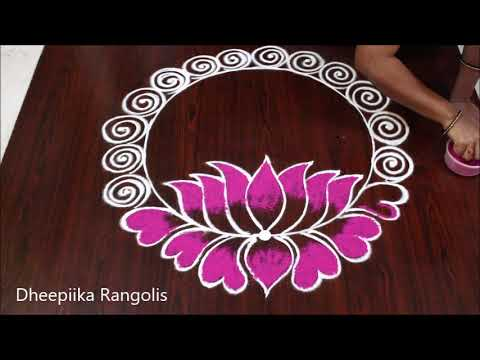 rangoli designs lotus for new year by dheepiika
