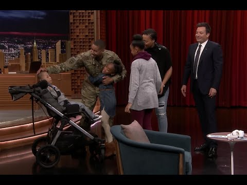 Jimmy Fallon uses Whisper Challenge for a heartwarming military reunion