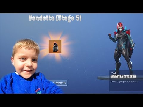 5 Year Old Kid *UNLOCKING* Final Stage Tier 100 'VENDETTA' After Fortnite Victory Royale WIN!!