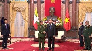 Chủ tịch nước Trần Đại Quang tiếp Tổng Tư lệnh các lực lượng vũ trang Myanmar