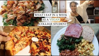 A *REALISTIC* WHAT I EAT IN A WEEK AS A COLLEGE STUDENT // VEGAN, QUICK, EASY