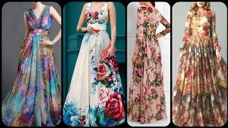 New Arrival Fren Style Floral Print Long Maxi Dress Shiffon And Silk Fabric Long Maxi Dress Designs