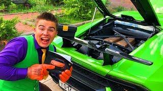 Mr. Joe on Broken Lamborghini Huracan found user Manual & repair Sport Car in Car Service for Kids