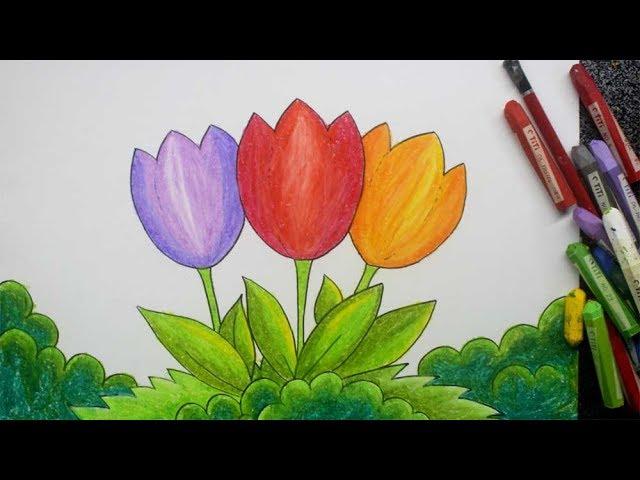 Cara Mewarnai Gambar Bunga Mawar Dengan Crayon