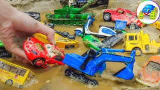 Clean dirty truck, tank, plane, excavator, fire truck, crane truck - Kid Studio
