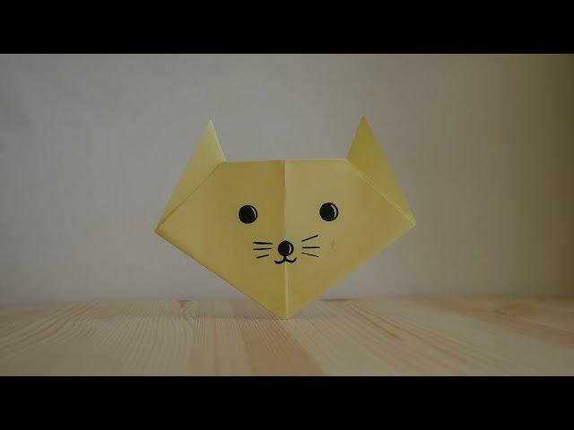 Оригами. Как сделать кота из бумаги (видео урок)