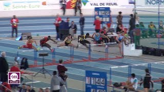 Val de Reuil 2018 : Finale 60 m haies Juniors M (Just Kwaou-Mathey en 7''74)