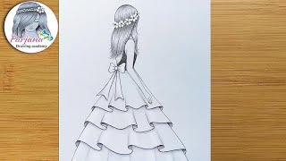 Easy Back Side Drawing Of A Girl || How To Draw A Girl With Beautiful Dress || Pencil Sketch