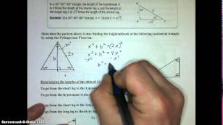 Lesson 8.3 Special Right Triangles Video Notes