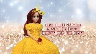 Doll Dress Crochet Tutorial // Disneys Belle Inspired // DiY