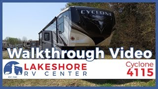 2019 Heartland Cyclone 4115 Fifth Wheel Toy Hauler Walkthrough | Lakeshore RV