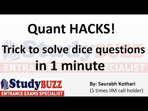 Quant HACKS- Trick to solve probability dice questions in 1 minute!