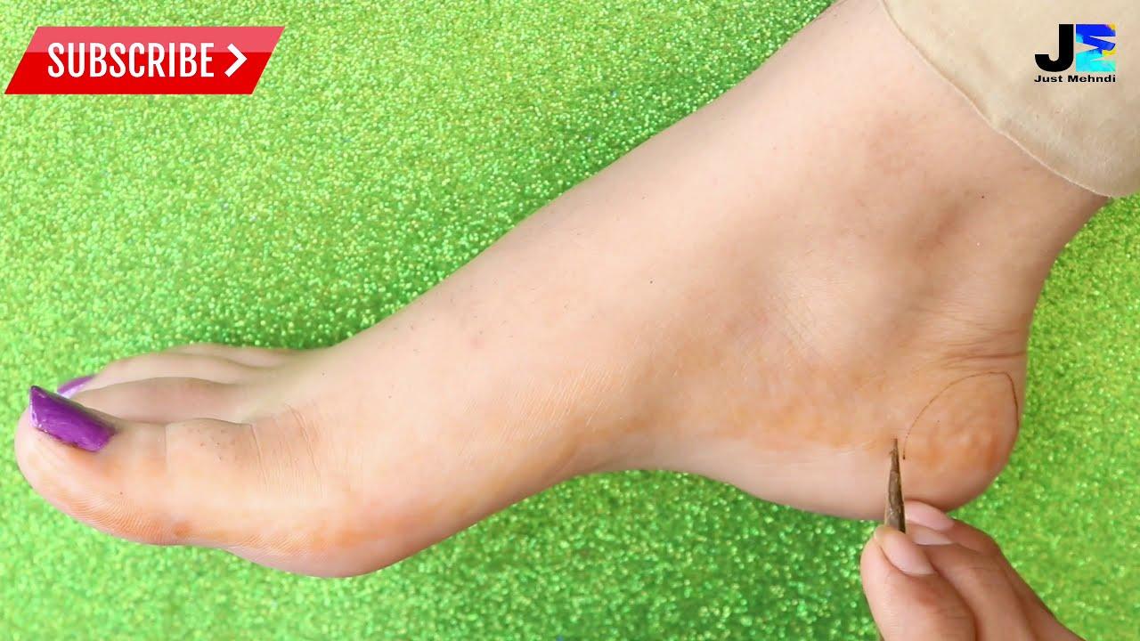 easy simple feet mehndi design by just mehndi