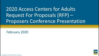 2020 Access Centers for Adults RFP: Proposers Conference Webinar
