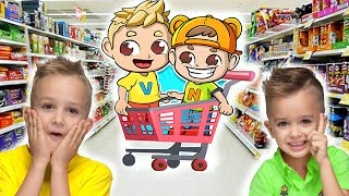 Vlad and Niki Play and Go Shopping