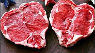Heart shaped ribeye Steak. Valentine's day
