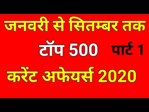Top 500 Current Affairs 2020 | January  to September | Current Affairs 2020 | for NTPC, GROUP D,