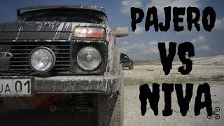 Mitsubishi PAJERO vs NIVA. Off-road 4x4. Cross-axling. НИВА против ПАДЖЕРО. Диагональное вывешивание