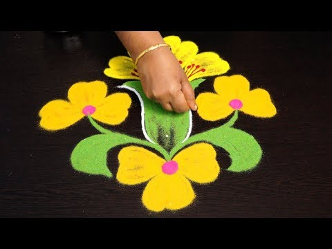 creative flower rangoli designs with 7 to 1 dots || simple kolam designs || geethala muggulu