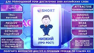 Анки 026 - учить английские слова: короткий, высокий, привлекательный, серьёзный, слабый, смелый