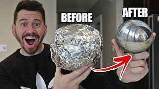 GIANT MIRROR POLISHED JAPANESE ALUMINUM FOIL BALL CHALLENGE!! *How To Make Japanese Foil Ball* - Video Youtube