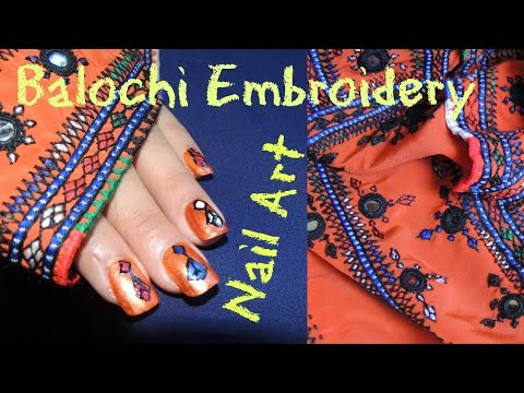 Short Clip Showing How To Do Balochi Embroidery Design With Nail