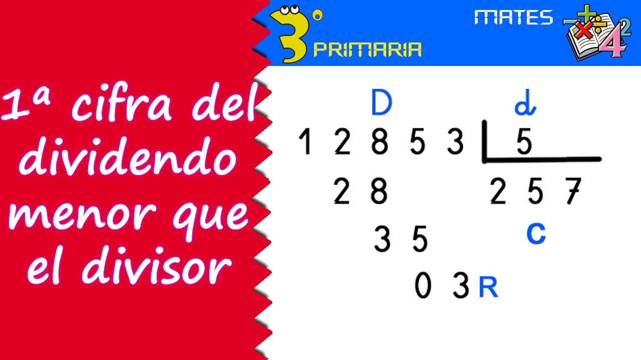 Matemáticas. 3º Primaria. Tema 9. Primera cifra del dividendo menor que el divisor
