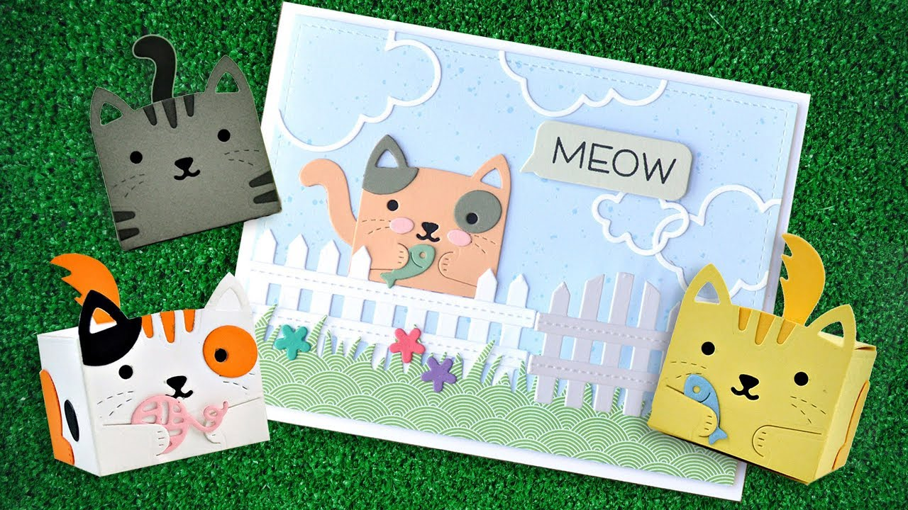 Lawn Fawn stanssisetti Tiny Gift Box Cat Add-On