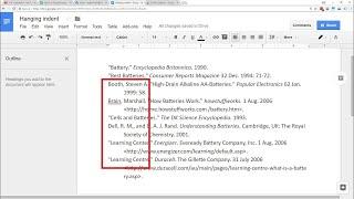 Google Docs - Hanging Indent