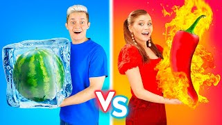 EATING HOT Vs COLD FOOD || 24 Hours Hot And Cold Food Challenge By 123 GO! BOYS