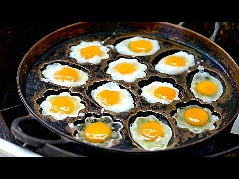 Video Bangkok Street Food - Fried Eggs and Pandan Cakes