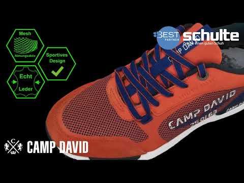 Camp David Herrenschuhe orange Leder Mesh Kombi atmungsaktiv