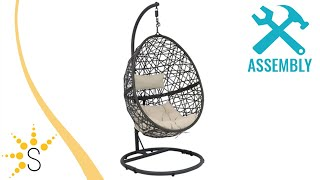 Sunnydaze Caroline Hanging Egg Chair With Steel Stand Set - AJ-Caroline