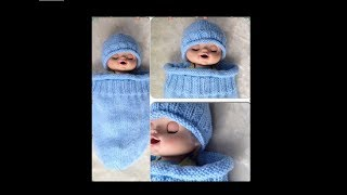 Knitted Baby Cocoon & Hat Set Pattern #132│by ThePatternFamily