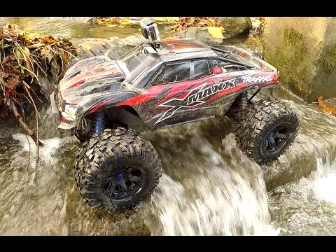 Traxxas XMAXX Water Wading At The Creek!