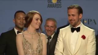 Video Golden Globes 2017 La La Land Backstage Interview With Ryan Gosling, Emma Stone & Damien Chazelle